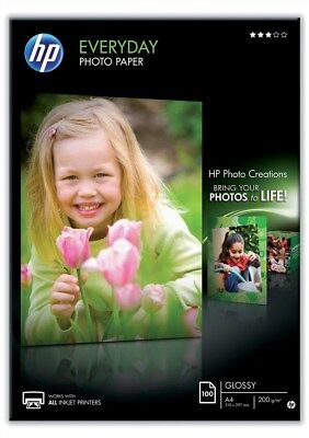HP Everyday Photo Paper (Gloss) 200gsm A4 (1 X Pack Of 100 Sheets) • 19.05£