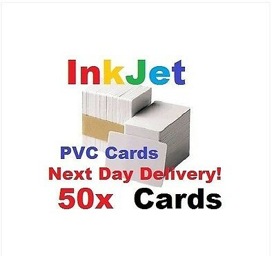 50 PVC Inkjet Id Cards For Epson & Canon Can Print Double-sided • 11.95£