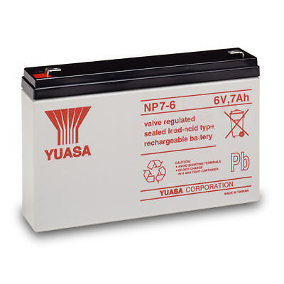 NP7-6 GENUINE Yuasa 6V 7Ah Valve Regulated Lead-Acid Rechargeable Battery • 114.28£