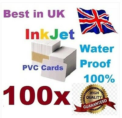100 PVC Inkjet Id Cards For Epson & Canon Can Print Double-sided • 21.95£