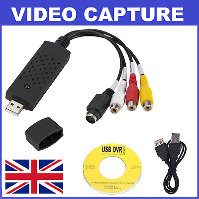 USB 2.0 To 3 RCA VHS DVD Game Audio Video Capture Card Adapter Converter (NEW) • 8.79£