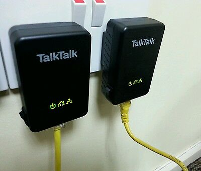TalkTalk Huawei Powerline Adapters  PT200AV (PAIRED) Plus 2 X Ethernet Cables! • 17.95£