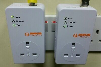 2 X BT Simpler Networks HP200PT64BT2 Powerline Adapters + 2 X Ethernet Cables • 19.75£