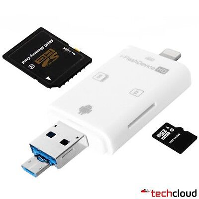 IFlash Driver OTG Micro USB SD Card Reader For IPhone And Android Phones • 6.99£