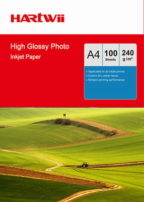 100 Sheets A4 230Gsm High Glossy Photo Paper For Inkjet Paper Printing Hartwii • 9.99£