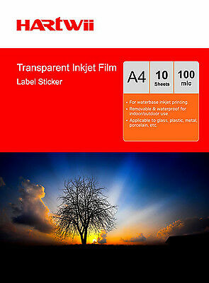 10 Sheets A4 Transparent Self Adhesive Printable Sticky Film Water Resistance • 7.49£