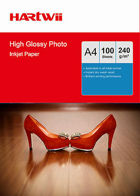 100 Sheets A4 230Gsm 240Gsm High Glossy Photo Paper Inkjet Paper Printer Hartwii • 9.99£