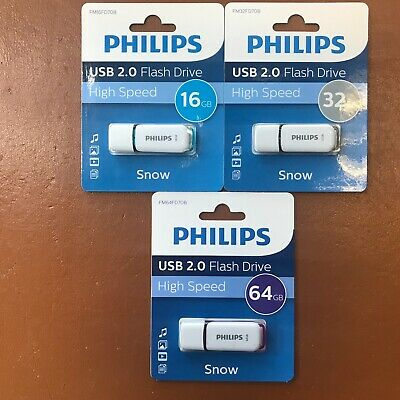PHILIPS 16 GB 32 GB 64 GB SNOW HIGH SPEED USB Flash Drive Memory Stick Pen Drive • 6.19£