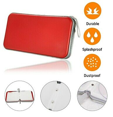 80 CD DVD Carry Case Disc Storage Holder CD Sleeve Wallet Ideal For In Car RED • 6.99£