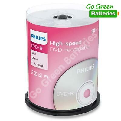 100 X Philips DVD-R Blank Recordable Discs 4.7GB 120 Mins 1-16x Speed Spindle  • 19.99£