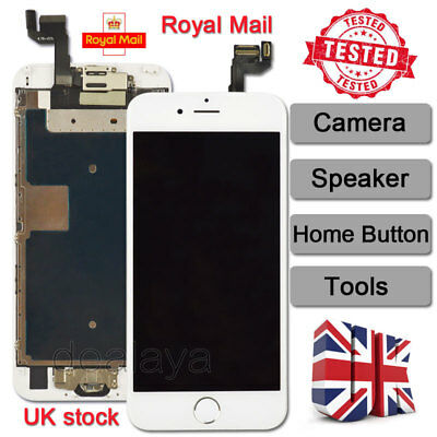 White Screen For IPhone 6s Replacement Digitizer LCD Touch Home Button Camera UK • 15.93£