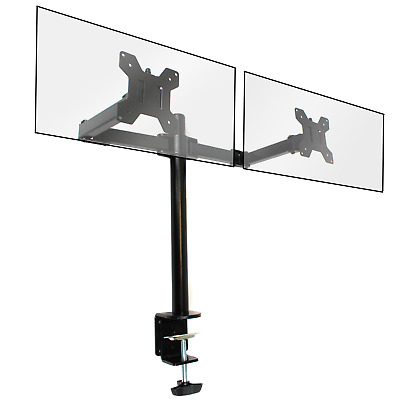 Fully Adjustable Double Monitor Bracket Dual Arm Desk Stand M&W • 17.99£