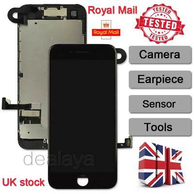 For Full IPhone 7 4.7  Touch Screen Display Replacement Digitizer + Camera Black • 18.92£