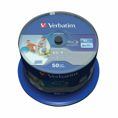 VERBATIM Blu-Ray BD-R SL DATALIFE 25GB 6X Pack Of 50 Printable Spindle BD-R • 35£