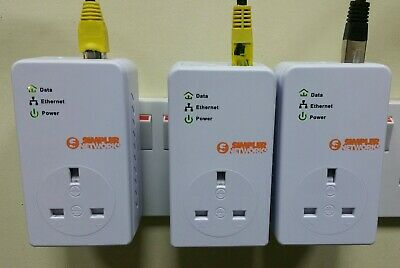 3 X BT Simpler Networks 200mbps Mini Passthrough Powerline Adapters + Ethernet! • 27.49£