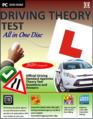 Driving Theory Test All In 1 Disc Valid For 2020 & Hazard Perception CD DVD ROM • 3.99£