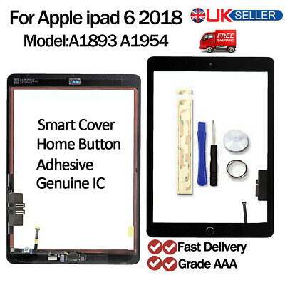 For 2018 IPad 6th Gen A1893 A1954 Black Touch Screen Digitizer Replacement + IC • 19.89£