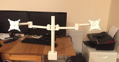 Professional Office Dual Screen Monitor Stand Arm  Adjustable Desk Mount White • 19.99£