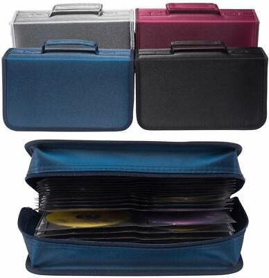 128 CD Case DVD Wallet Cover Disc Storage Holder Sleeve Handle Portable Car Home • 7.99£