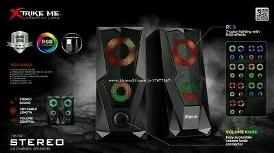 XTRIKE ME SK-501 6W 2.0 Channel RGB 7 COLOR LED USB Powered Gaming PC Speakers • 16.99£