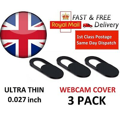 Webcam Cover 3 PACK Thin Camera Sticker Slider For Iphone Laptop Mobile Tablet • 2.78£