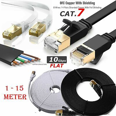 New RJ45 Cat7 Network Cable Ethernet Gigabit Snagless LAN Lot 10GBps Patch Leads • 3.49£