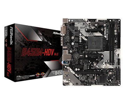ASRock B450M-HDV R4.0 MATX Motherboard For AMD AM4 CPUs • 60.83£