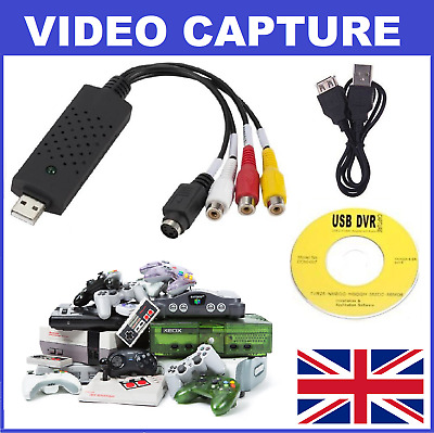 Video Game Console USB Capture Card S-Video Composite -Nintendo Sega Playstation • 10.99£