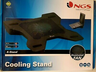 NGS X-Stand Notebook Laptop Cooling Stand USB Connection Illuminated Fan • 16.49£