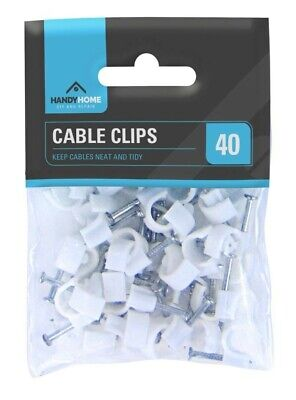 40 Pack White Cable Clips Wall Tacks Wire Cord Detangle Clamp Assorted Sizes 8mm • 2.45£