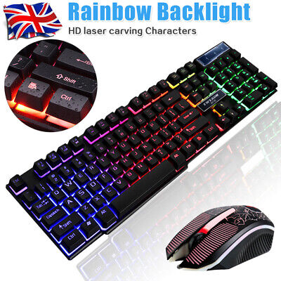 Gaming Keyboard And Mouse USB Wired Rainbow RGB LED Light For PC Laptop PS4 Xbox • 17.59£