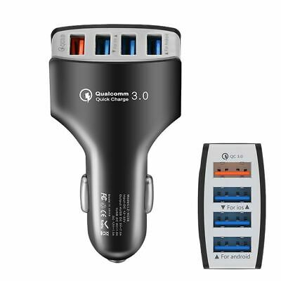 3A - 4 Port QC 3.0 Car Charger For Android & IOS Quick Charging - (Black) • 2.33£