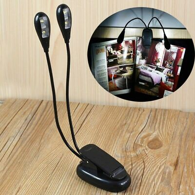 Black Clip-on 2 Dual Arms 4 LED Flexible Light Book Music Reading Stand Lamp • 3.57£