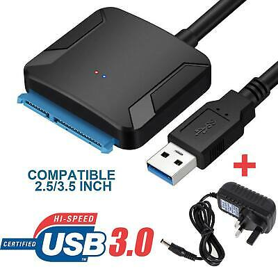 SATA TO USB 3.0 Converter Adapter Cable 2.5 /3.5  Inch HDD SSD Hard Drive Black • 9.39£