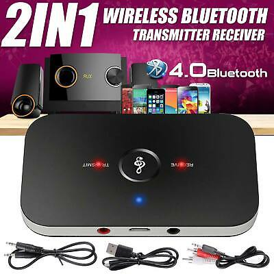 2 In 1 Bluetooth Wireless Audio Transmitter Receiver HiFi Music Adapter AUX RCA • 6.99£