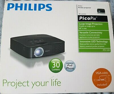 Philips Picopix PPX 1230 LED Pocket Projector. Boxed.Free Tripod & Carrying Case • 55£