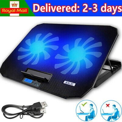 12 -17  Quiet Laptop Cooler Cooling Pad Stand With Dual USB Powered 2 Fans UK • 18.83£