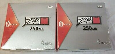 TWO NEW Iomega Zip 250 250MB Disks 4 Pack With Cases SEALED X2 PC Formatted • 30£