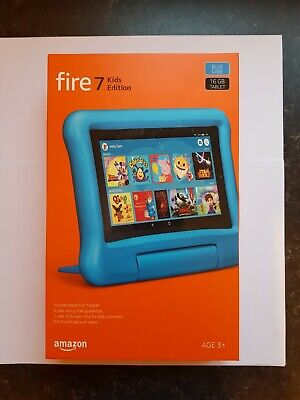 Fire 7 Kids Edition Tablet 7  Display, 16 GB, Blue Kid-Proof Case - NEW • 75£