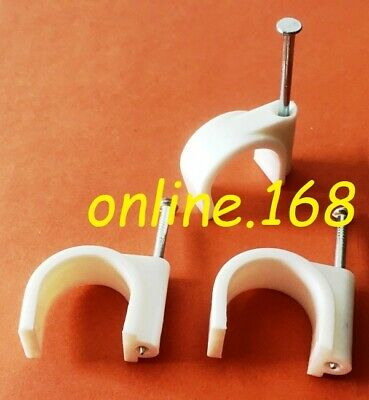 Cable Clips – Large Round Nail Cable Clips  25mm  In WHITE • 2.59£