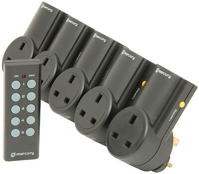 5 X Remote Control UK 240V Wireless Mains Sockets - Switch Adapter Plug In RF • 54.99£