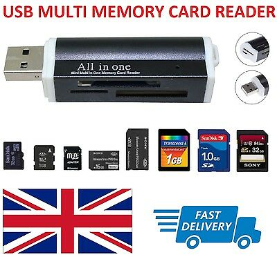 USB Multi Memory Card Reader - SD/SDHC/SDXC/Mini SD/Micro M2/MMC/XD UK Seller • 3.39£