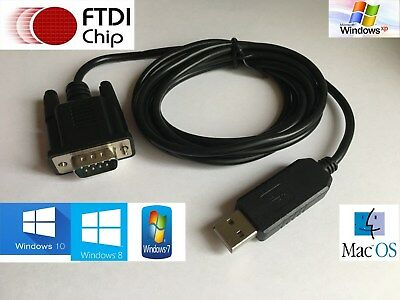 1.8m USB To Serial Adapter FTDI CHIPSET RS232 WIN 10 DB9  • 13.99£