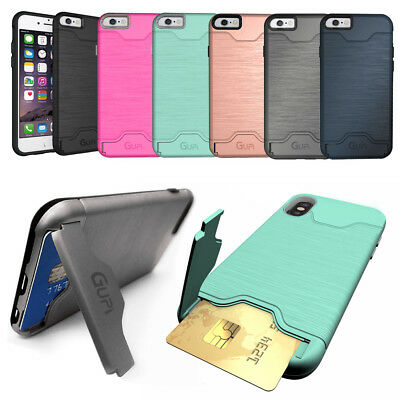 Protective Armour Hard Phone Case Cover With Hidden CARD HOLDER & Media Stand • 5.75£