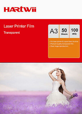 50 Sheets Transparency OHP Film Acetate Clear A3 For Laser & Copier Hartwii UK • 13.99£