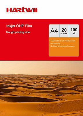 20 Sheet  Transparency OHP Film Acetate Clear With White Strip Inkjet Printer UK • 7.59£