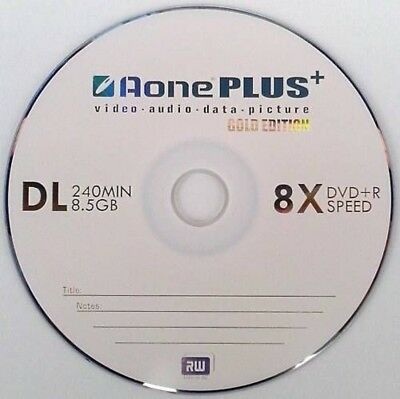10 AONE Double Layer Branded Non Printable 8.5GB(8x) Gold Edition DVD+R DL • 4.25£