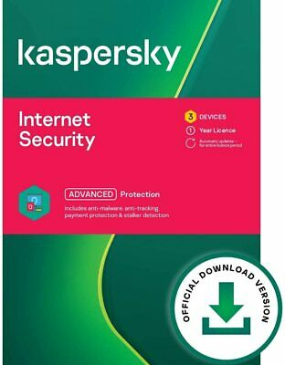 Kaspersky Internet Security 2020 3 PC |  3 Device 1 Year License Download • 13.99£
