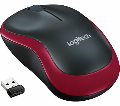 LOGITECH M185 Wireless Optical Mouse - Black & Red - Currys • 9.99£