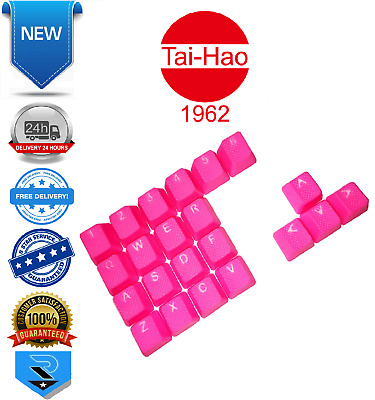 Tai-Hao TPR Rubber Gaming Backlit Double Shot 22 Keys Neon Pink Key Caps • 30.99£